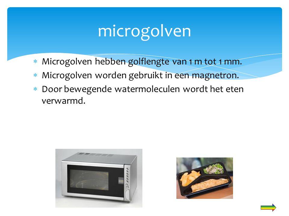 microgolven Microgolven hebben golflengte van 1 m tot 1 mm.