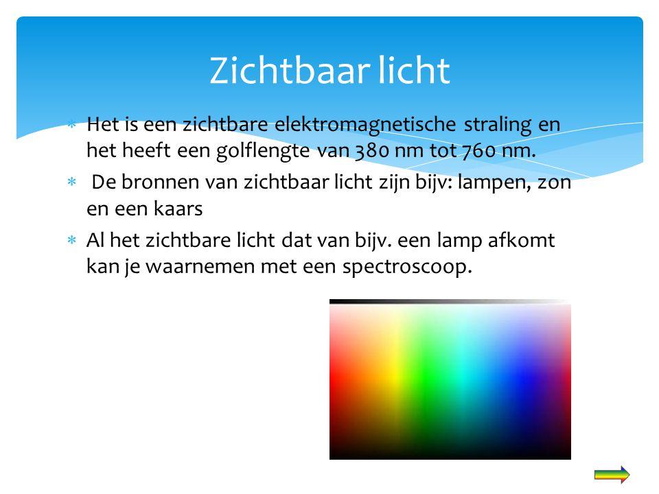 Zichtbaar licht Het is een zichtbare elektromagnetische straling en het heeft een golflengte van 380 nm tot 760 nm.
