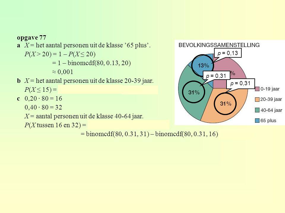 a X = het aantal personen uit de klasse '65 plus'.