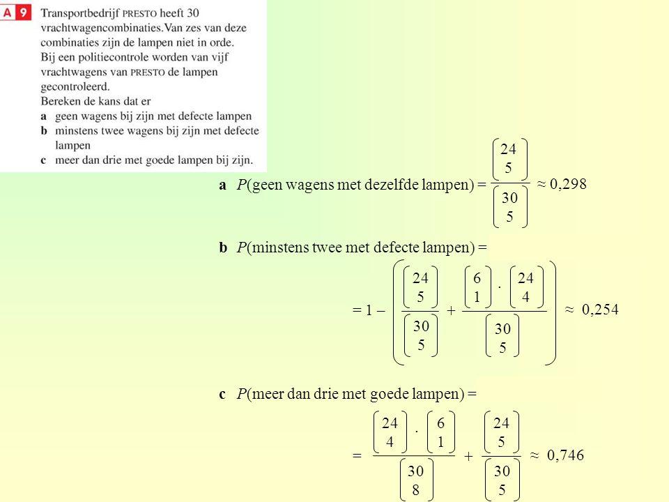 24 5 a P(geen wagens met dezelfde lampen) = b P(minstens twee met defecte lampen) = 1 – (P(geen) + P(één)) =