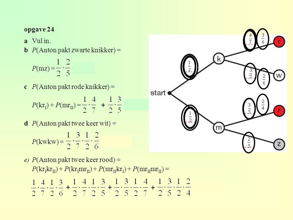 + + + + opgave 24 a Vul in. b P(Anton pakt zwarte knikker) =