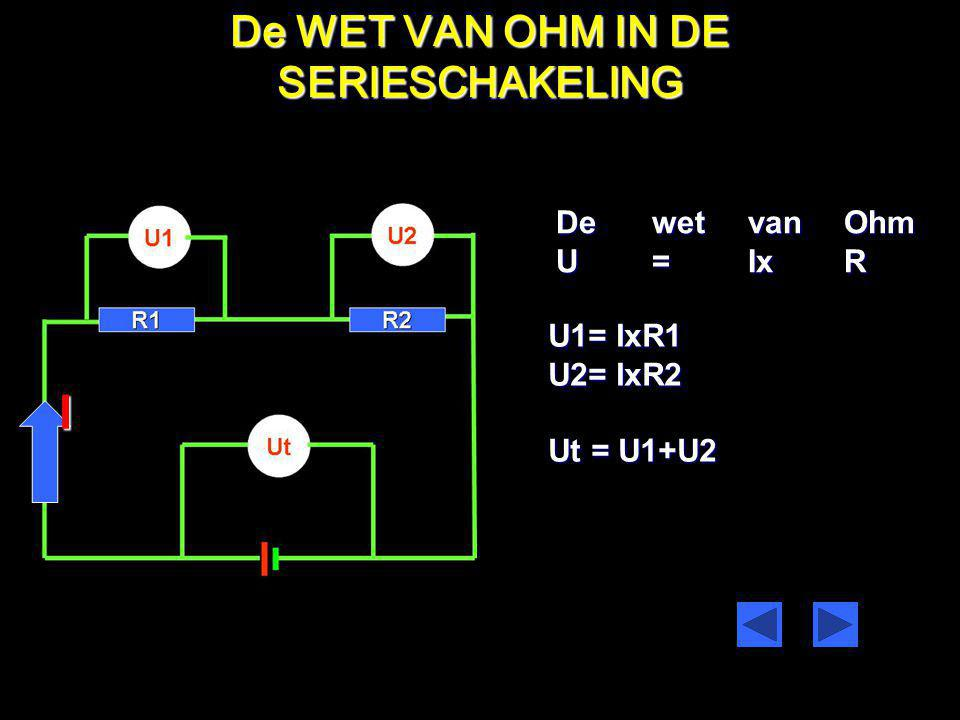 I De WET VAN OHM IN DE SERIESCHAKELING De wet van Ohm U = Ix R