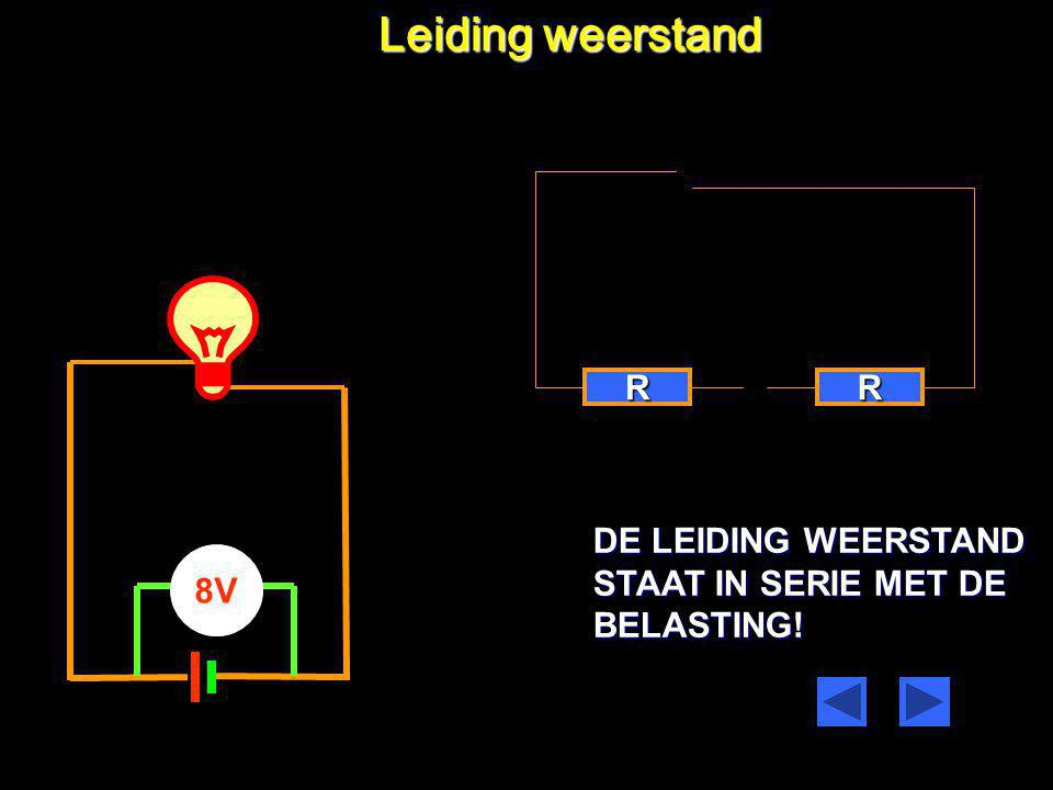 Leiding weerstand R R DE LEIDING WEERSTAND STAAT IN SERIE MET DE