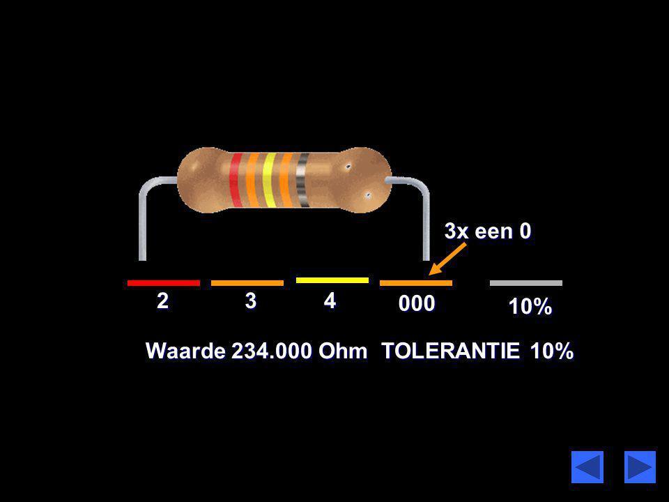 3x een 0 2 3 4 000 10% Waarde 234.000 Ohm TOLERANTIE 10%