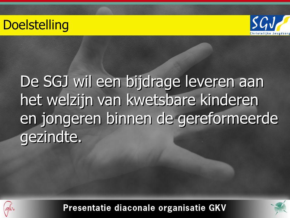 Doelstelling De SGJ wil een bijdrage leveren aan het welzijn van kwetsbare kinderen en jongeren binnen de gereformeerde gezindte.