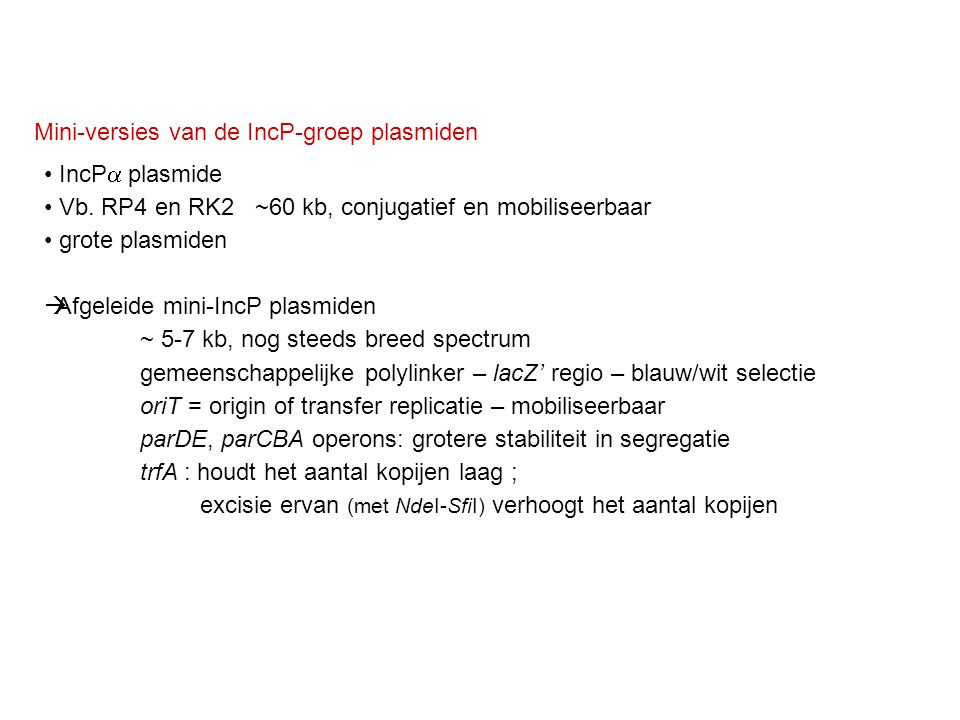 Mini-versies van de IncP-groep plasmiden