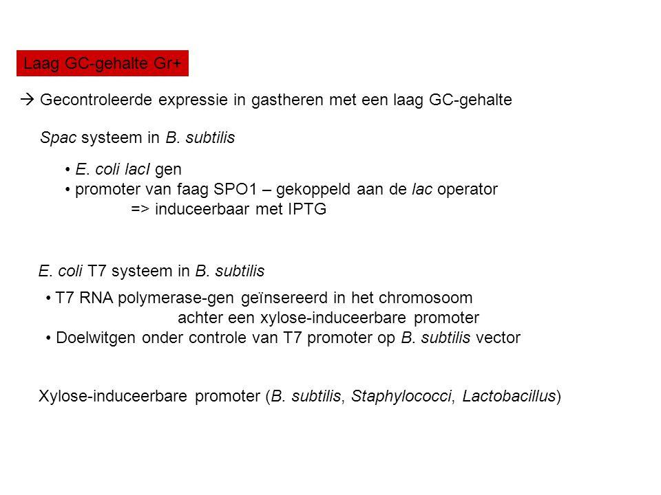 Laag GC-gehalte Gr+  Gecontroleerde expressie in gastheren met een laag GC-gehalte. Spac systeem in B. subtilis.
