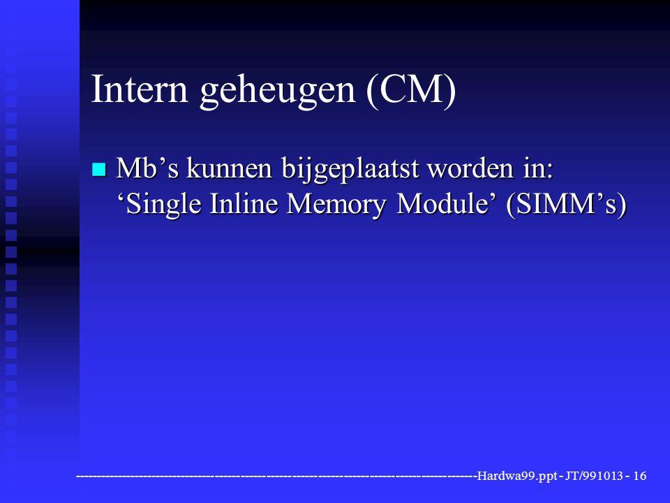 Intern geheugen (CM) Mb's kunnen bijgeplaatst worden in: 'Single Inline Memory Module' (SIMM's)