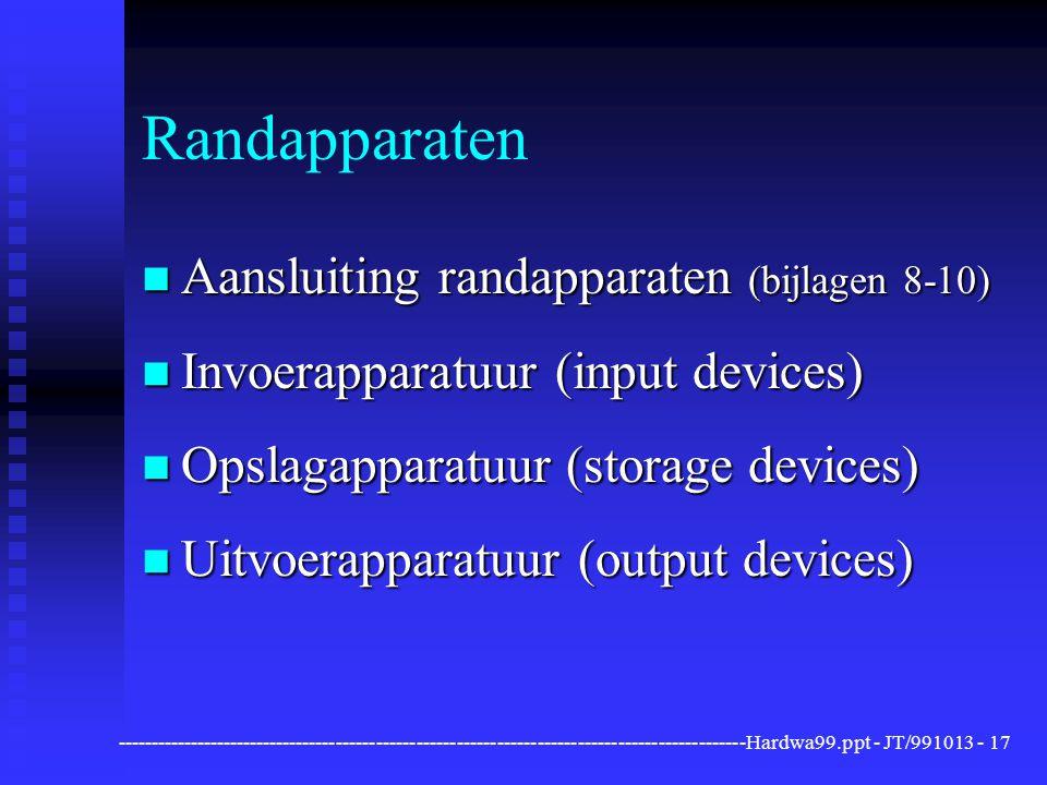 Randapparaten Aansluiting randapparaten (bijlagen 8-10)