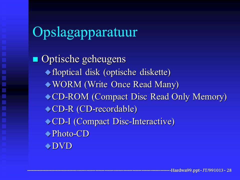 Opslagapparatuur Optische geheugens floptical disk (optische diskette)