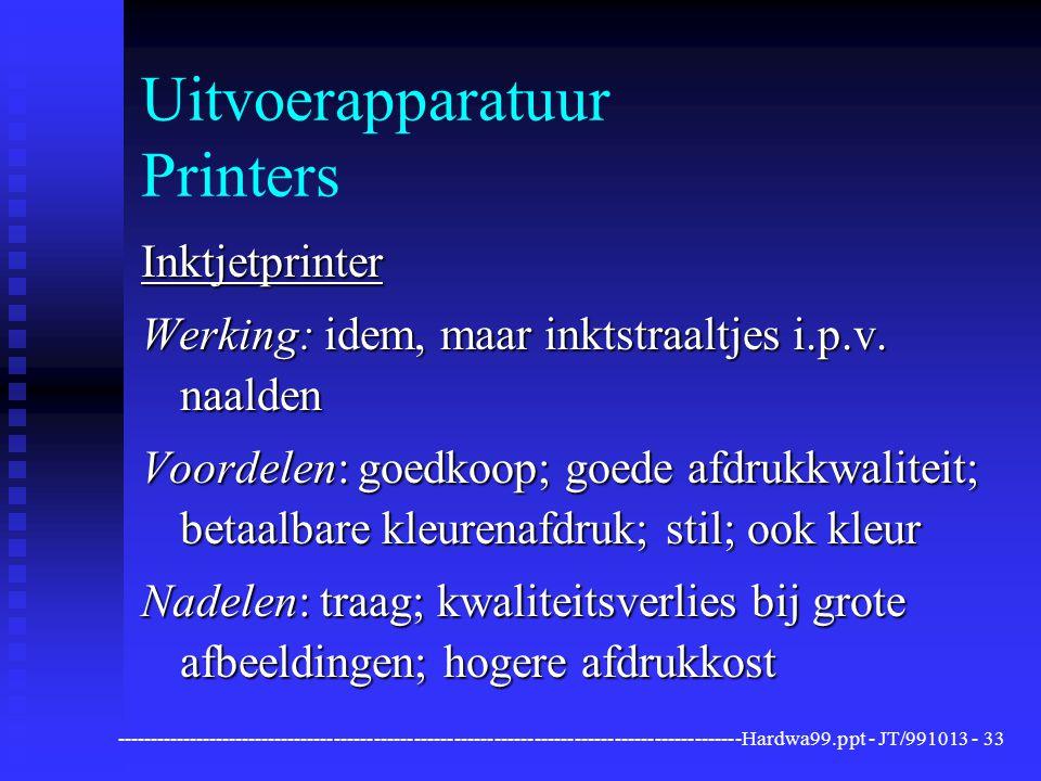 Uitvoerapparatuur Printers