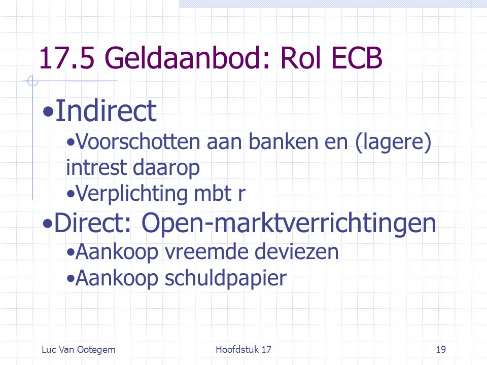 17.5 Geldaanbod: Rol ECB Indirect Direct: Open-marktverrichtingen