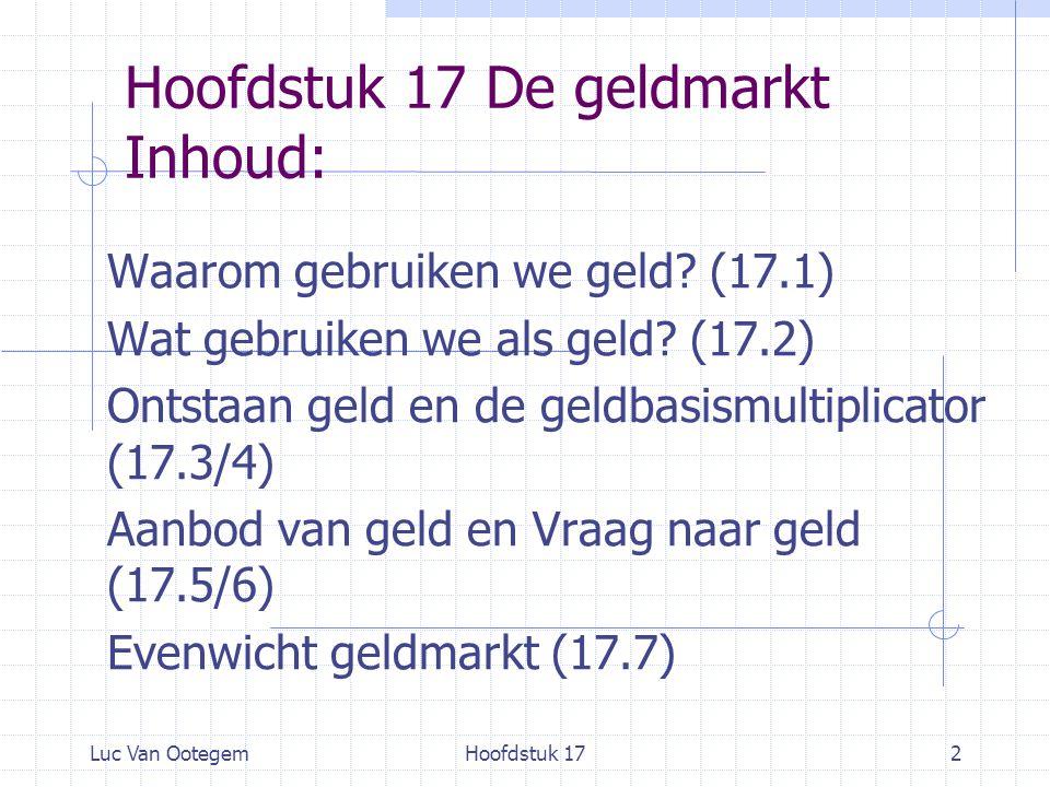 Hoofdstuk 17 De geldmarkt Inhoud: