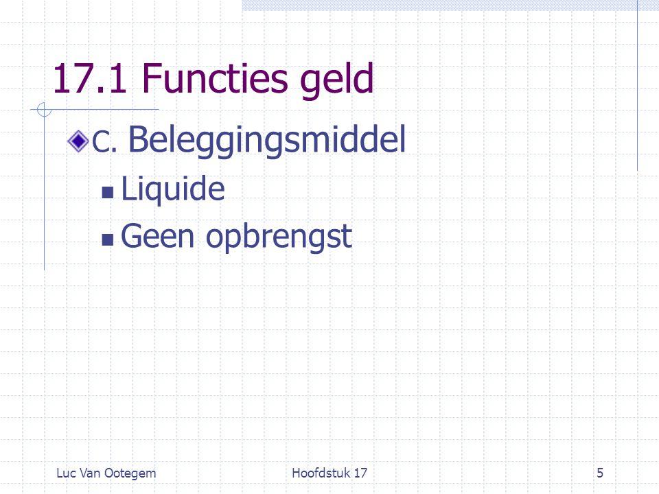 17.1 Functies geld Liquide Geen opbrengst C. Beleggingsmiddel