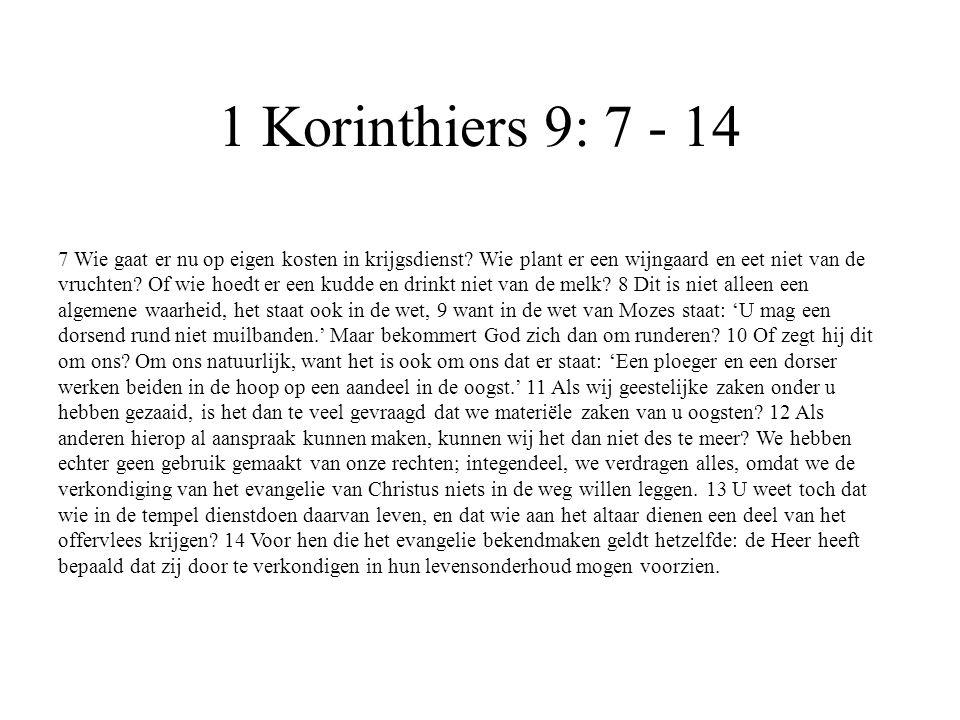 1 Korinthiers 9: 7 - 14