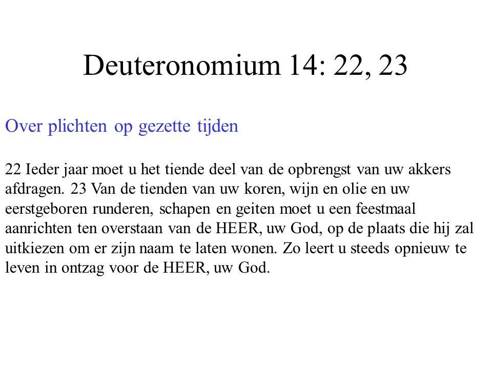 Deuteronomium 14: 22, 23 Over plichten op gezette tijden