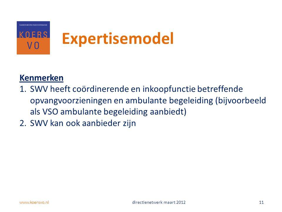 Expertisemodel Kenmerken
