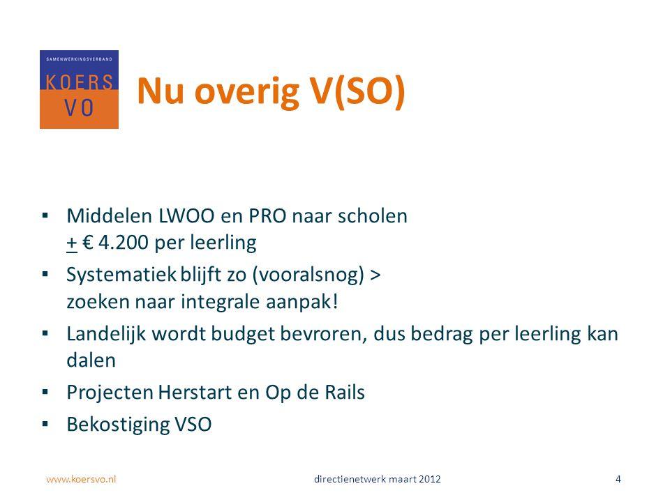 Nu overig V(SO) Middelen LWOO en PRO naar scholen + € 4.200 per leerling. Systematiek blijft zo (vooralsnog) > zoeken naar integrale aanpak!