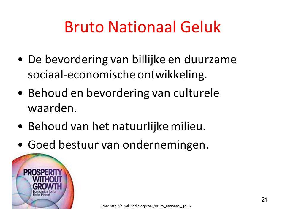 Bruto Nationaal Geluk De bevordering van billijke en duurzame sociaal-economische ontwikkeling. Behoud en bevordering van culturele waarden.