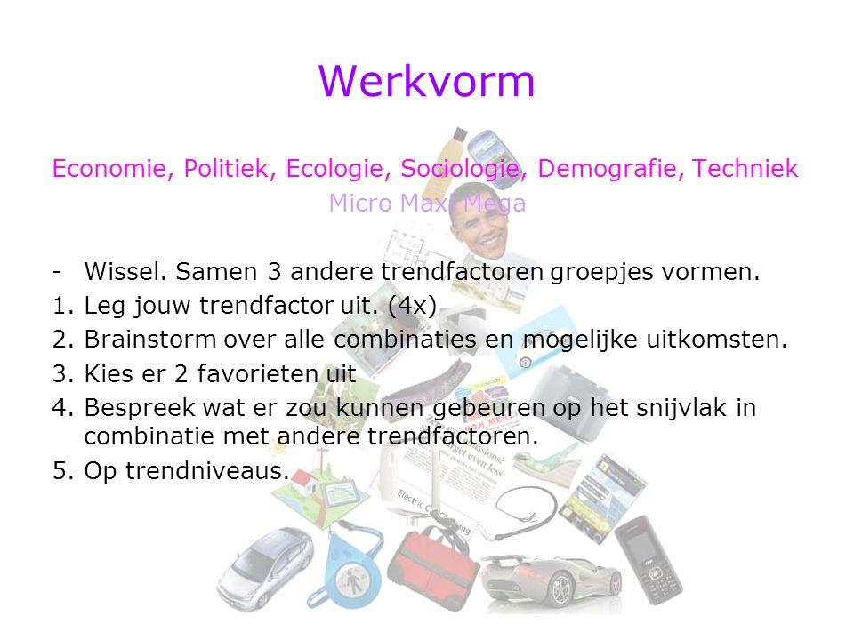Werkvorm Economie, Politiek, Ecologie, Sociologie, Demografie, Techniek. Micro Maxi Mega. Wissel. Samen 3 andere trendfactoren groepjes vormen.