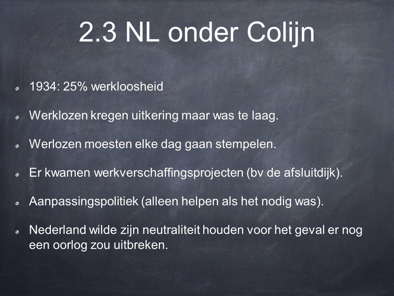 2.3 NL onder Colijn 1934: 25% werkloosheid