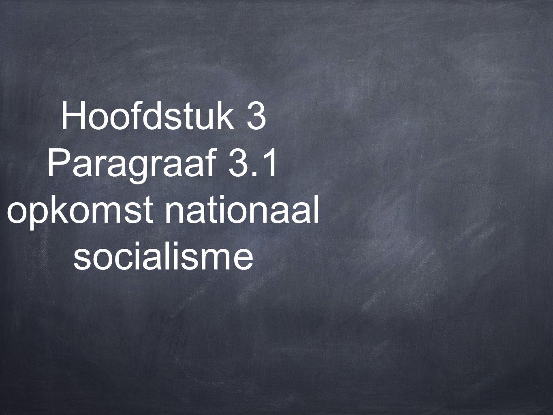 Hoofdstuk 3 Paragraaf 3.1 opkomst nationaal socialisme