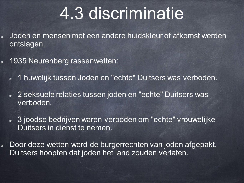 4.3 discriminatie Joden en mensen met een andere huidskleur of afkomst werden ontslagen. 1935 Neurenberg rassenwetten: