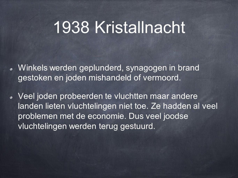 1938 Kristallnacht Winkels werden geplunderd, synagogen in brand gestoken en joden mishandeld of vermoord.