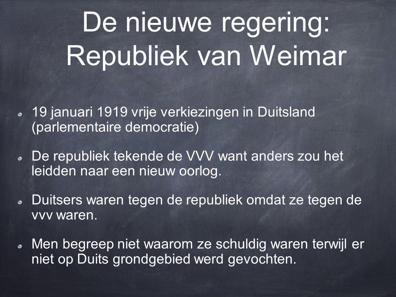 De nieuwe regering: Republiek van Weimar
