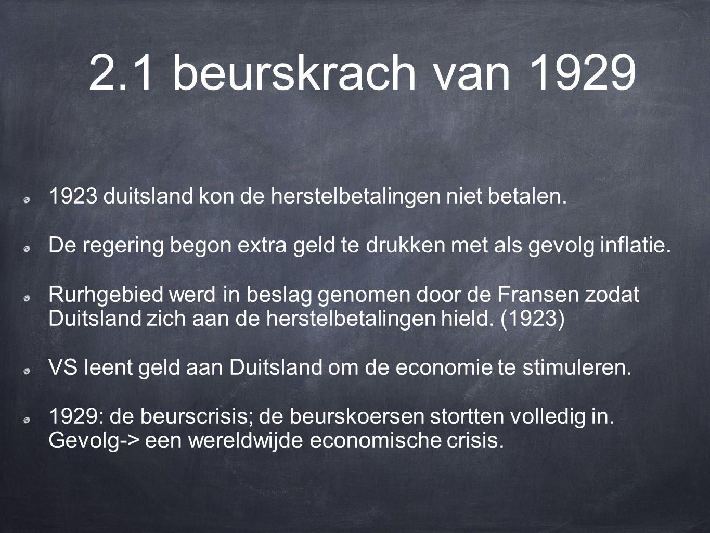 2.1 beurskrach van 1929 1923 duitsland kon de herstelbetalingen niet betalen. De regering begon extra geld te drukken met als gevolg inflatie.