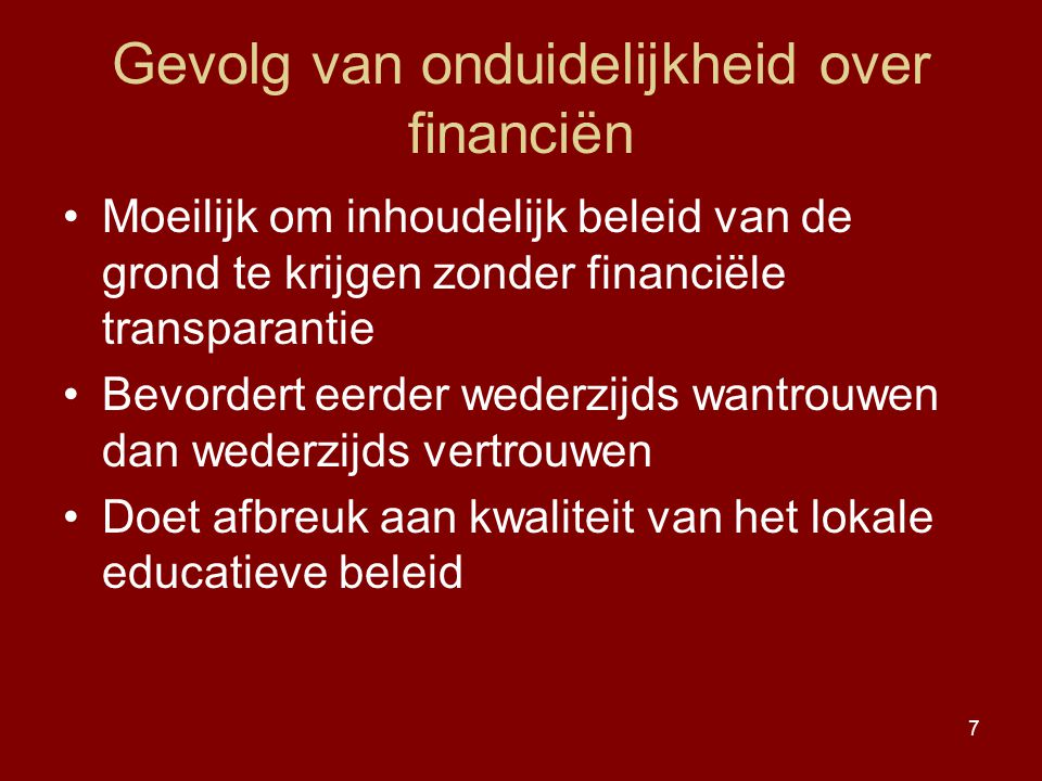 Gevolg van onduidelijkheid over financiën