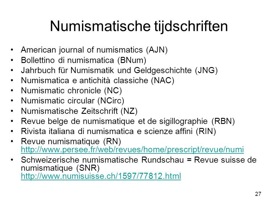 Numismatische tijdschriften