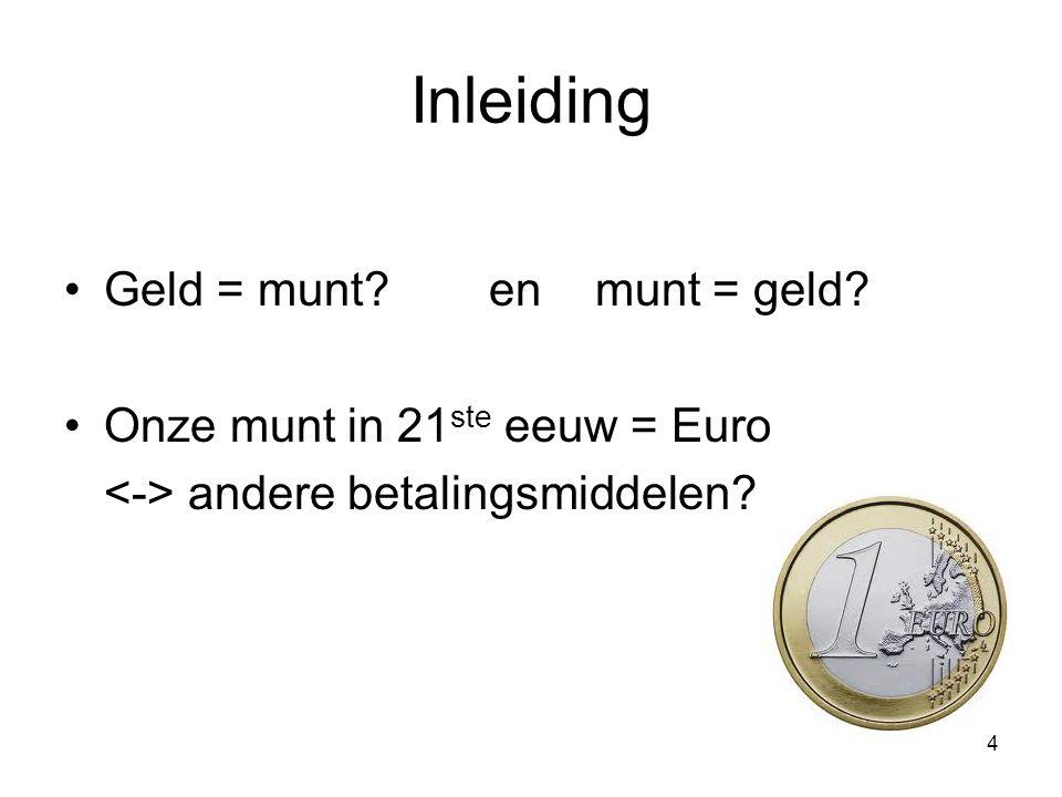 Inleiding Geld = munt en munt = geld Onze munt in 21ste eeuw = Euro