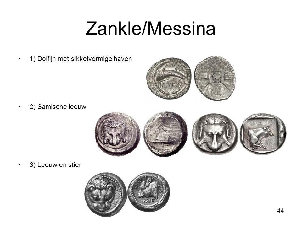Zankle/Messina 1) Dolfijn met sikkelvormige haven 2) Samische leeuw