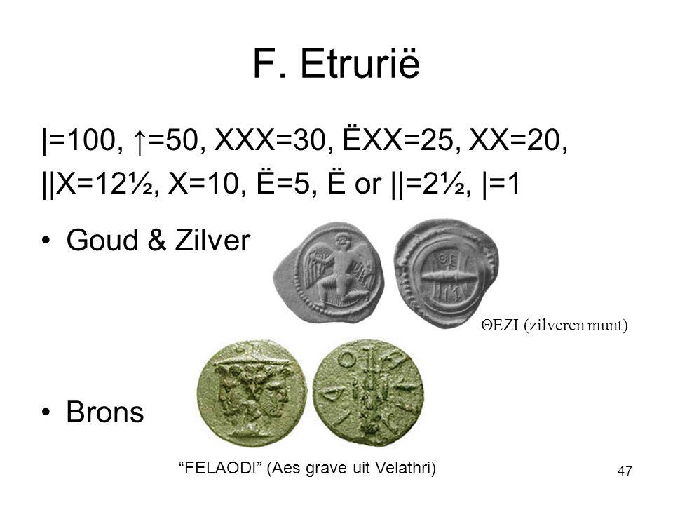 F. Etrurië |=100, ↑=50, XXX=30, ËXX=25, XX=20,