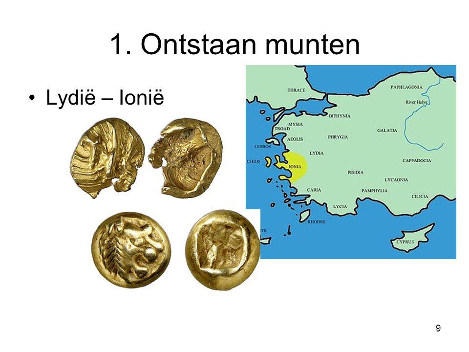 1. Ontstaan munten Lydië – Ionië