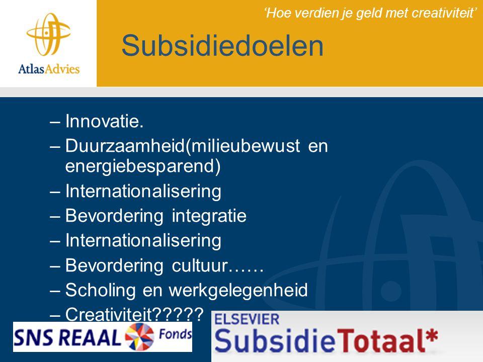 Subsidiedoelen Innovatie.