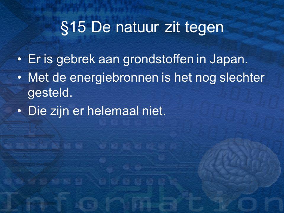 §15 De natuur zit tegen Er is gebrek aan grondstoffen in Japan.
