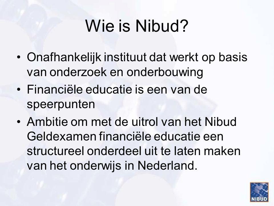 Wie is Nibud Onafhankelijk instituut dat werkt op basis van onderzoek en onderbouwing. Financiële educatie is een van de speerpunten.