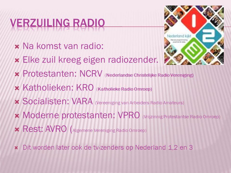 Verzuiling radio Na komst van radio: