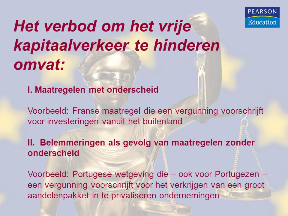 Het verbod om het vrije kapitaalverkeer te hinderen omvat: