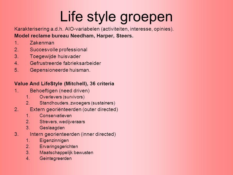 Life style groepen Karakterisering a.d.h. AIO-variabelen (activiteiten, interesse, opinies). Model reclame bureau Needham, Harper, Steers.