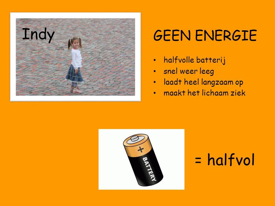 Indy = halfvol GEEN ENERGIE halfvolle batterij snel weer leeg