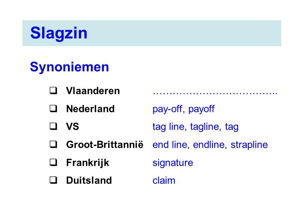 Slagzin Synoniemen Vlaanderen Nederland VS Groot-Brittannië Frankrijk
