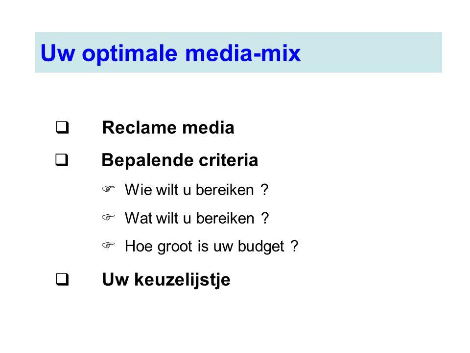 Uw optimale media-mix Reclame media Bepalende criteria Uw keuzelijstje