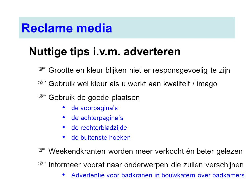 Reclame media Nuttige tips i.v.m. adverteren