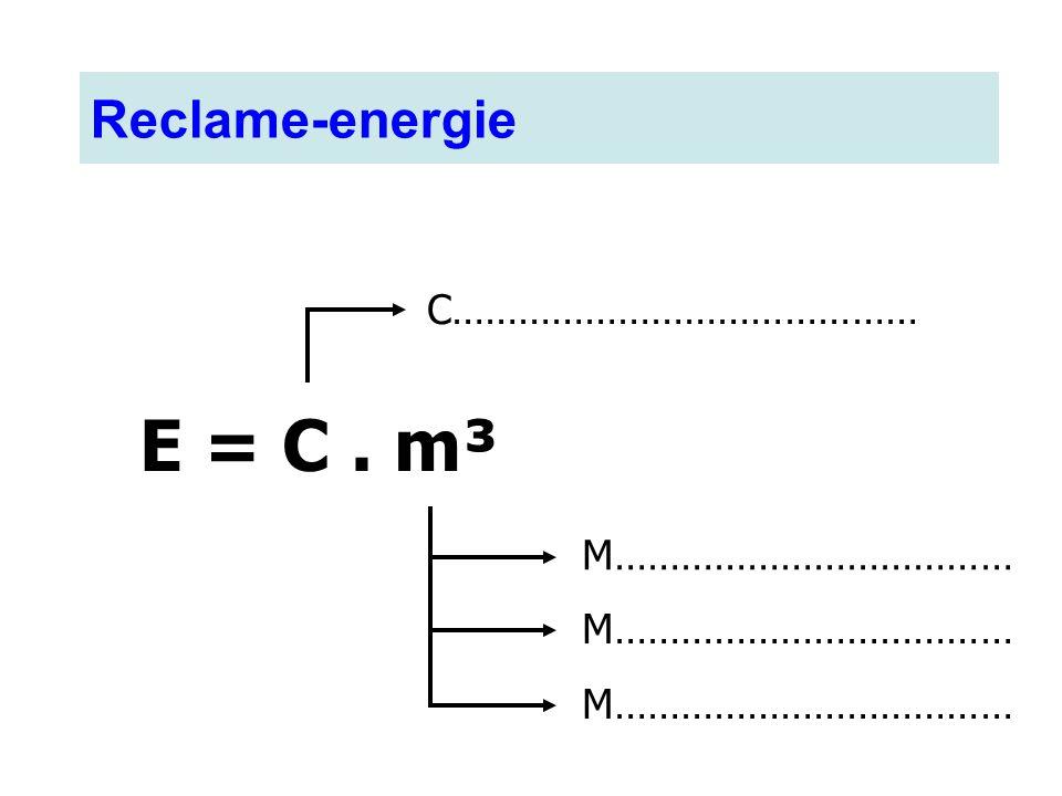 E = C . m³ Reclame-energie C…………………………………… M……………………………… M………………………………
