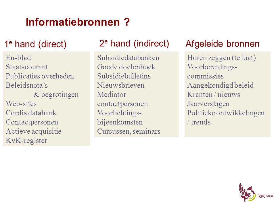 Informatiebronnen 1e hand (direct) 2e hand (indirect)