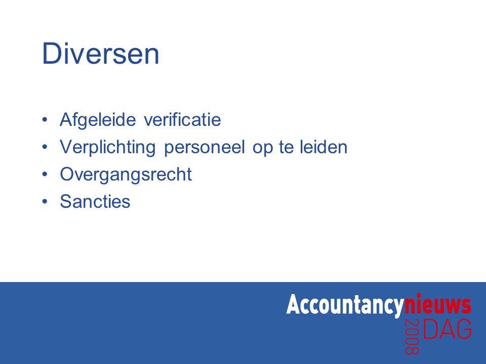 Diversen Afgeleide verificatie Verplichting personeel op te leiden