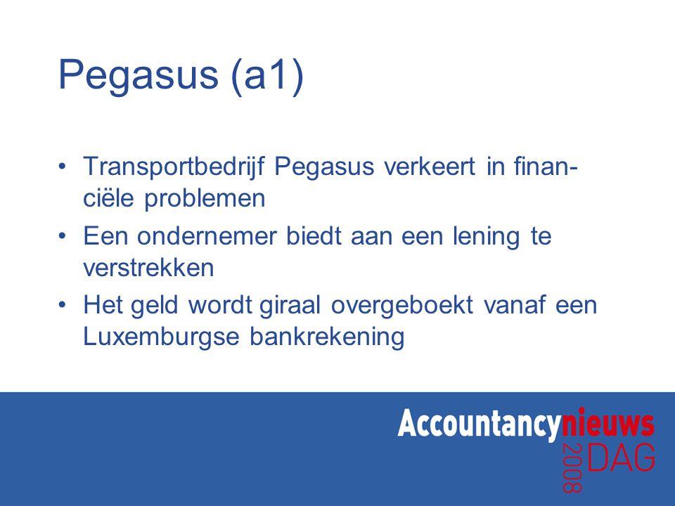 Pegasus (a1) Transportbedrijf Pegasus verkeert in finan-ciële problemen. Een ondernemer biedt aan een lening te verstrekken.